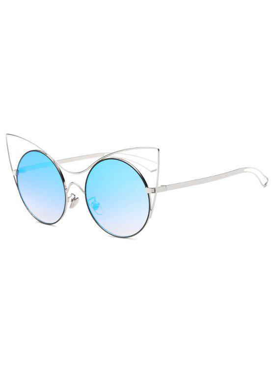 Ahueca hacia fuera de la pierna del espejo de las gafas de sol del ojo de gato - Azul Hielo