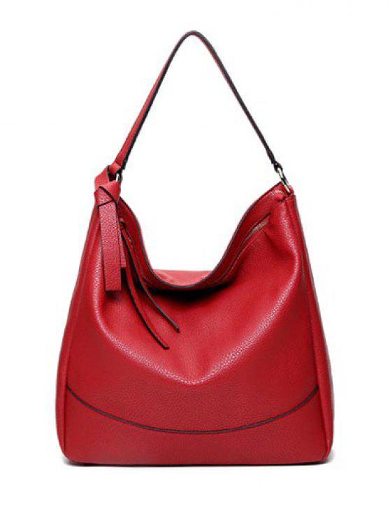 La bolsa de asas de metal con textura de piel de la cremallera del anillo - Rojo