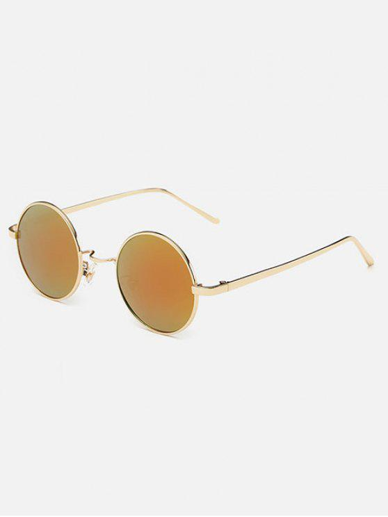 latest Streetwear Metal Round Mirror Sunglasses - SWEET ORANGE