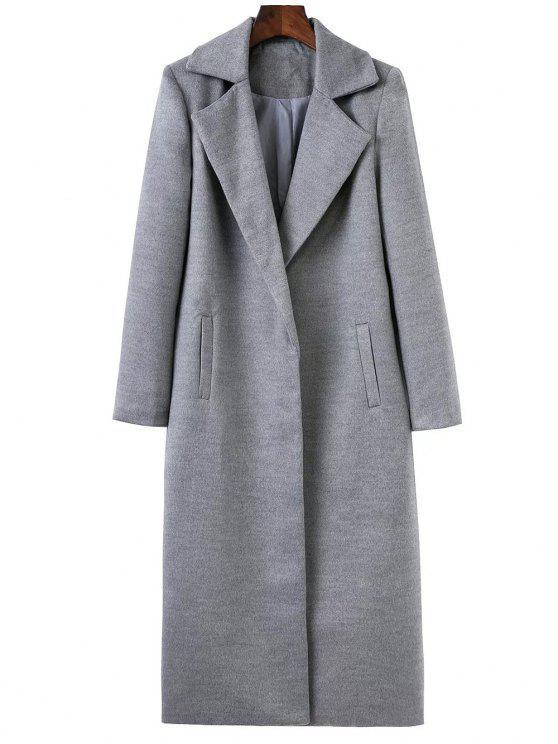 fashion Longline Lapel Collar Cocoon Coat - GRAY L