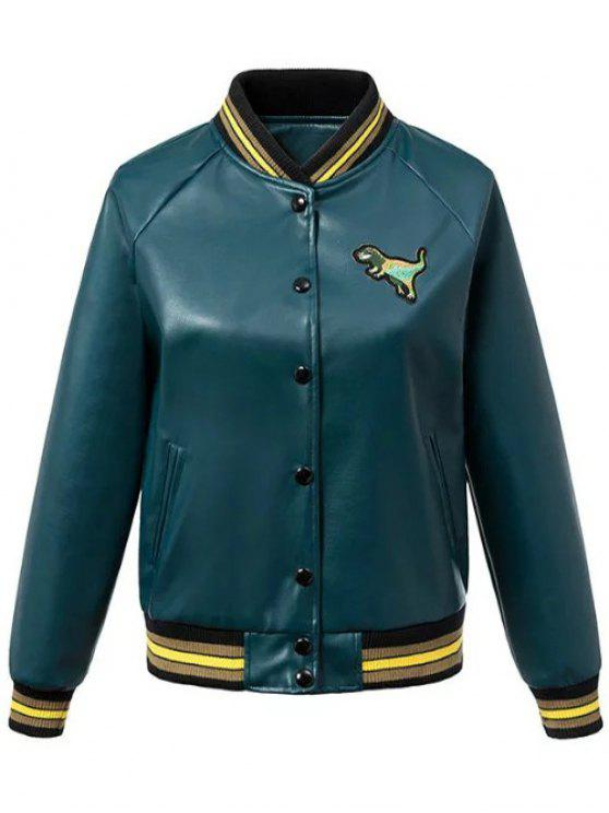 shop PU Leather Baseball Jacket - BLACKISH GREEN M