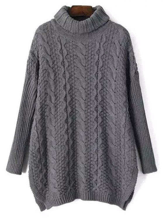 Side Split Turtle Neck Cable Knit Sweater GRAY: Sweaters ONE SIZE ...