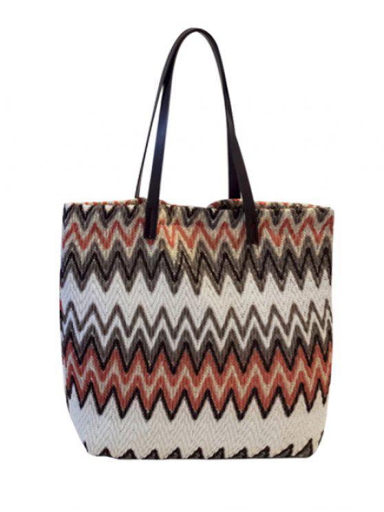 3f73dcc945 Zigzag Pattern Colour Block Splicing Shoulder Bag