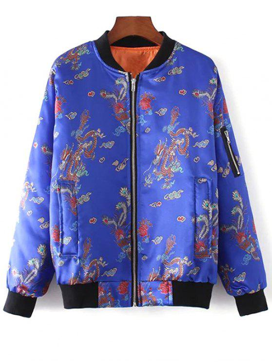 sale Printed Zippered Padded Jacket - BLUE L