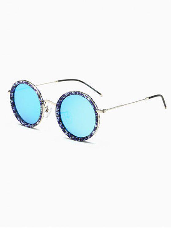 Delgado Pierna Gafas de sol redondas de mármol - Azul Hielo