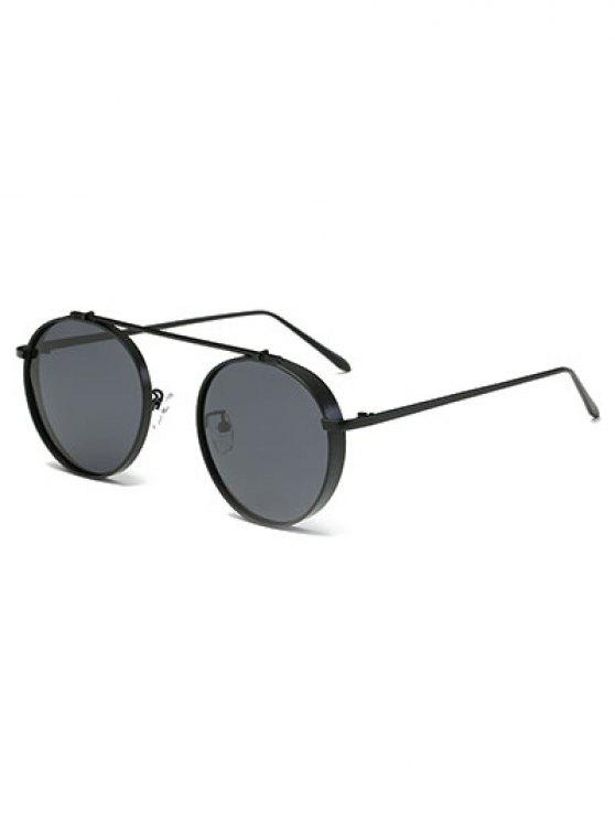 fancy Chunky Frame Crossbar Metal Oval Sunglasses - BLACK