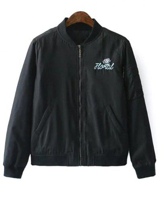 buy Embroidered Quilted Zip Jacket - BLACK S