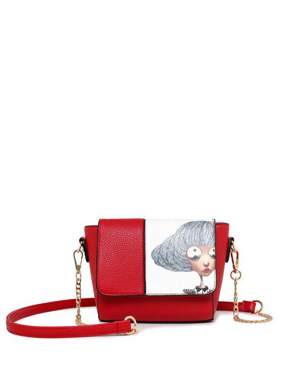hot Characters Printed Chain Colour Spliced Crossbody Bag - RED