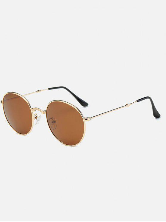 ladies Metal Cambered Nose Bridge Oval Sunglasses - GOLDEN