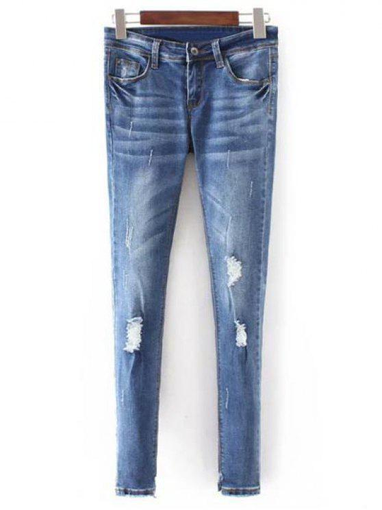 trendy Bleach Wash Skinny Ripped Jeans - BLUE S