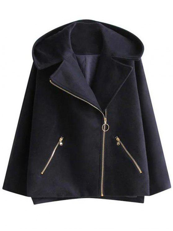 trendy Hooded A Line Wool Blend Coat - CADETBLUE S