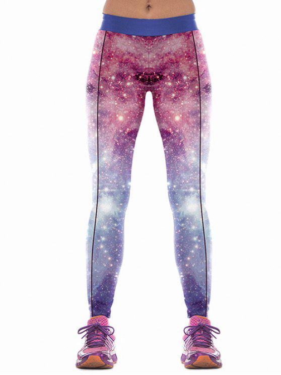 affordable Skinny Colorful Sky SPrint Sports Pants - PURPLE M