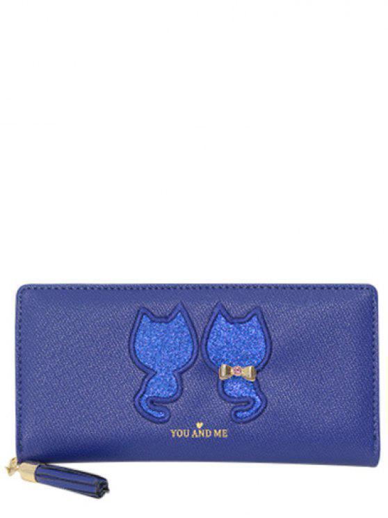 Motif Paillettes Cat Glands Wallet - Bleu