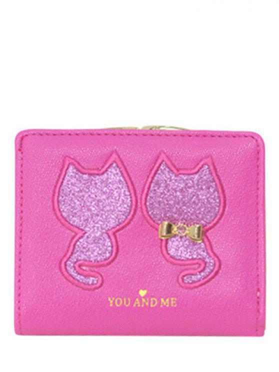 online Animal Pattern Sequins Bow Wallet - ROSE MADDER