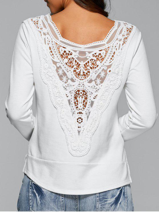 Espalda de encaje de manga larga de la camiseta - Blanco L