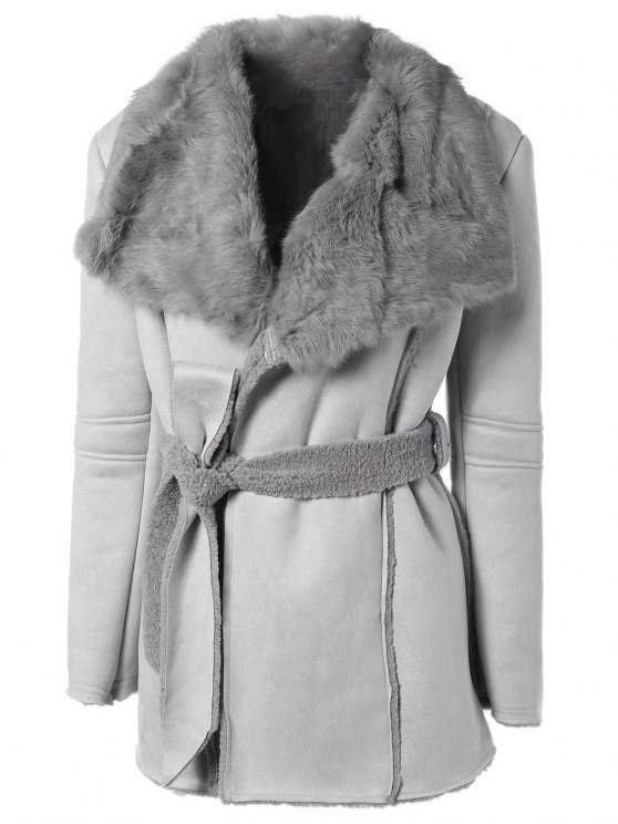 best Rabbit Fur Collar Fleece Coat - GRAY ONE SIZE