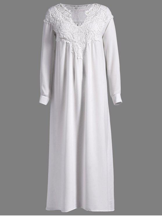 new Crochet Yoke Maxi Flowing Dress - WHITE S
