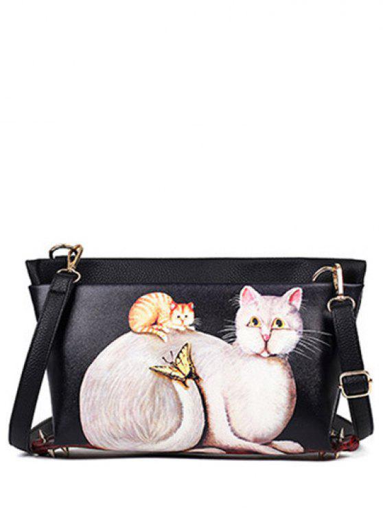 shops Cat Printed Colour Block Rivets Crossbody Bag - BLACK