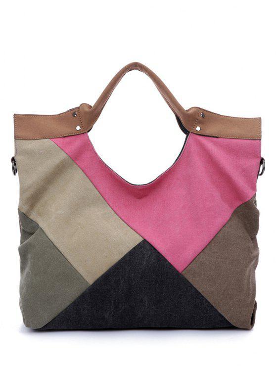 Patchwork-Segeltuch Farbe Splicing-Taschen-Tasche - COLORMIX