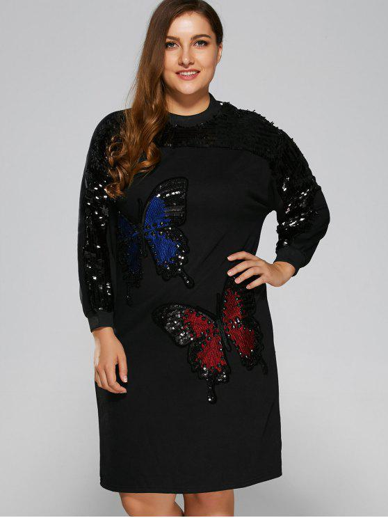 shops Sparkly Sequins Butterfly Sweatshirt Dress - BLACK ONE SIZE