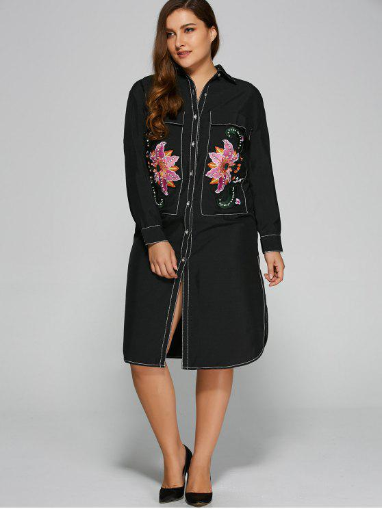 latest Contrasting Piped Midi Shirt Dress - BLACK ONE SIZE