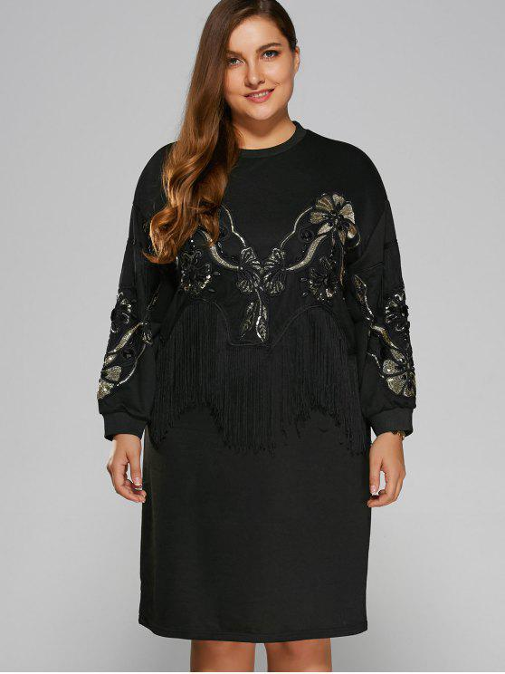trendy Sequins Fringed Sweatshirt Dress - BLACK ONE SIZE