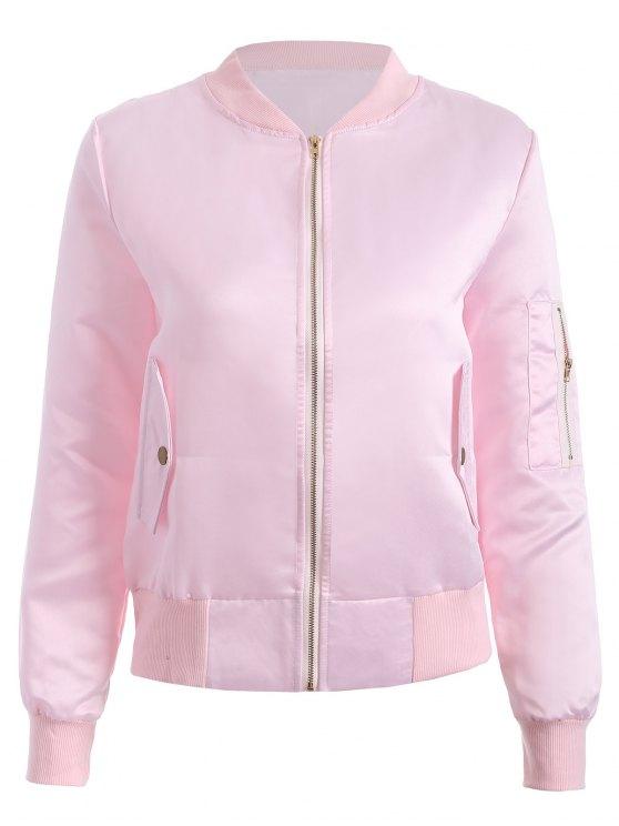 fashion Zip-Up Bomber Jacket - PINK S