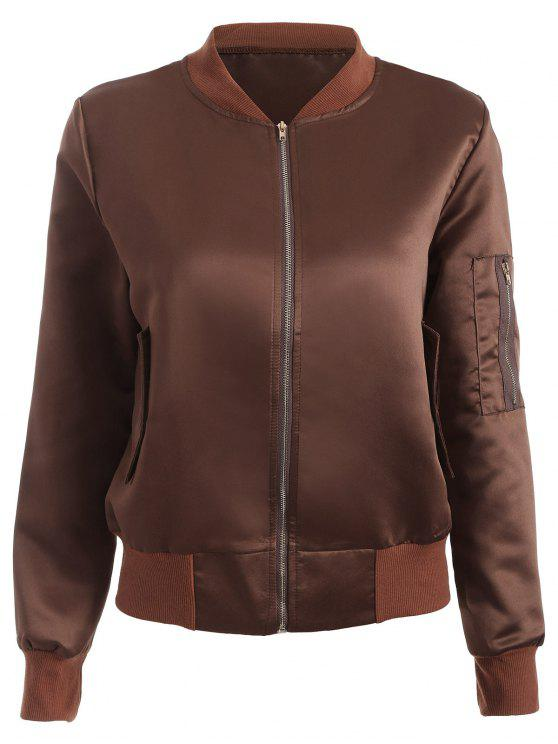 chic Zip-Up Bomber Jacket - COFFEE XL