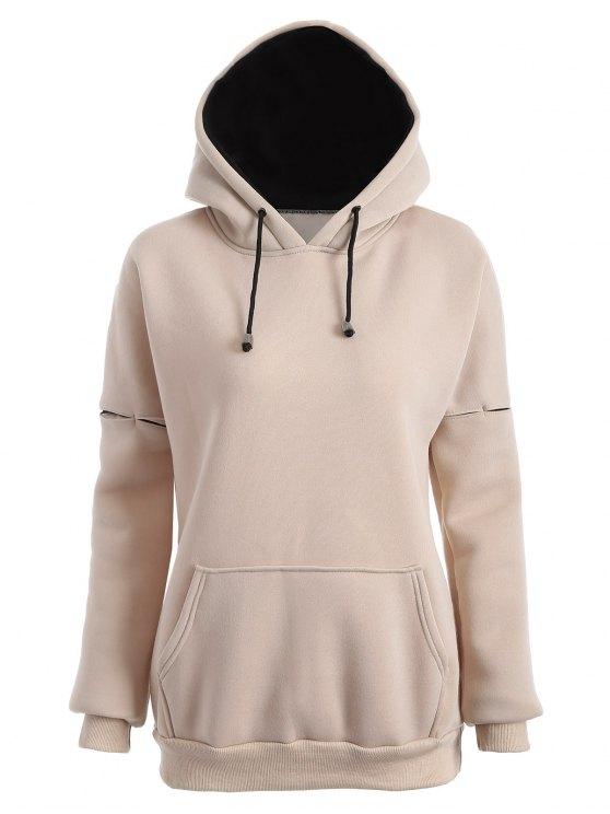 fancy Raglan Sleeve Pullover Hoodie - APRICOT S