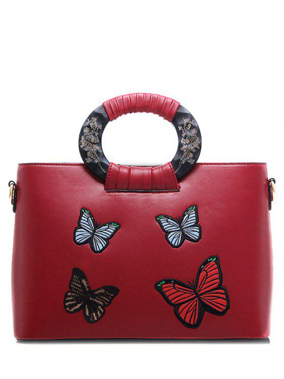 hot Butterfly Pattern Embroidery PU Leather Tote Bag - RED