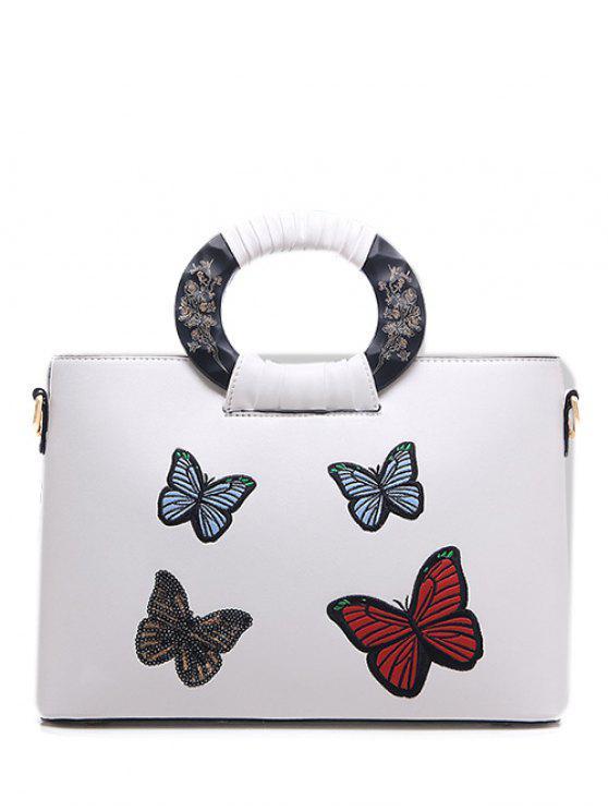 La bolsa de asas del patrón de mariposa del bordado del cuero de la PU - Blanco