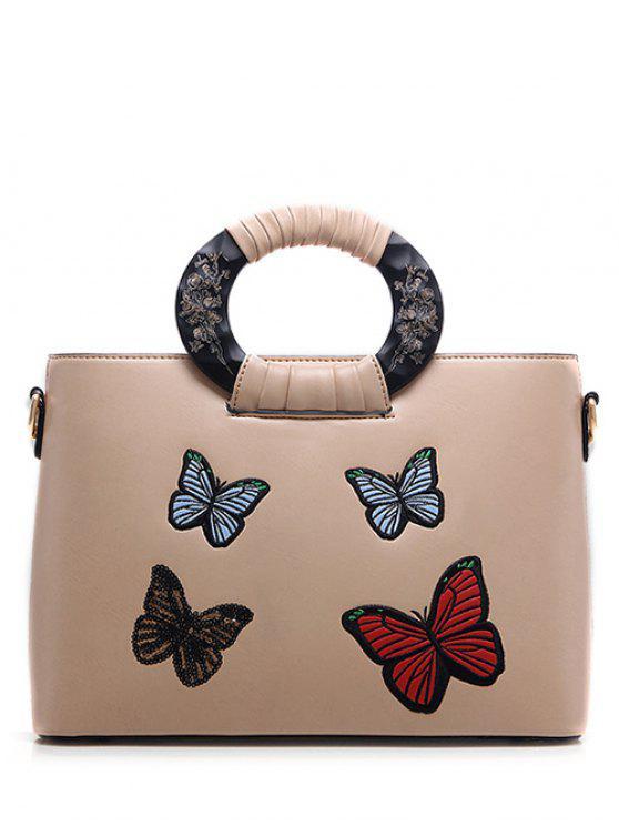 La bolsa de asas del patrón de mariposa del bordado del cuero de la PU - Albaricoque