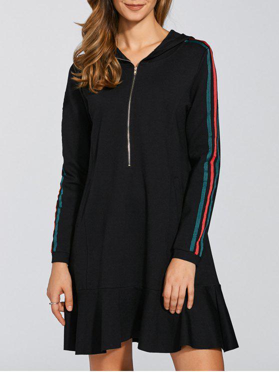 fashion Ruffle Hem Hoodie Dress - BLACK L