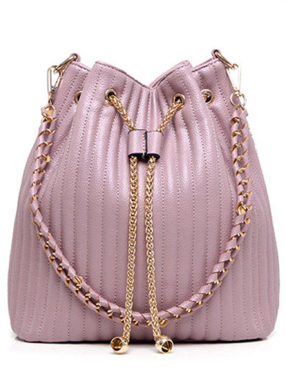 sale Drawstring Magnetic Closure Chain Shoulder Bag - PINK