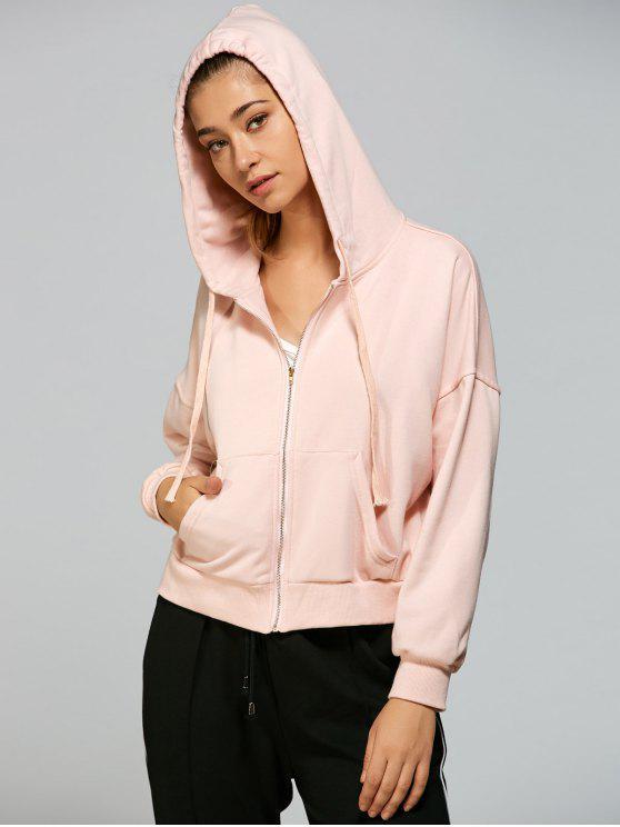 Oversized Zip Up Hoodie PINK Sweatshirts S | ZAFUL