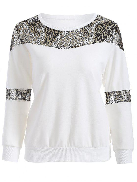 Lace Panel Sweatshirt - Weiß 2XL