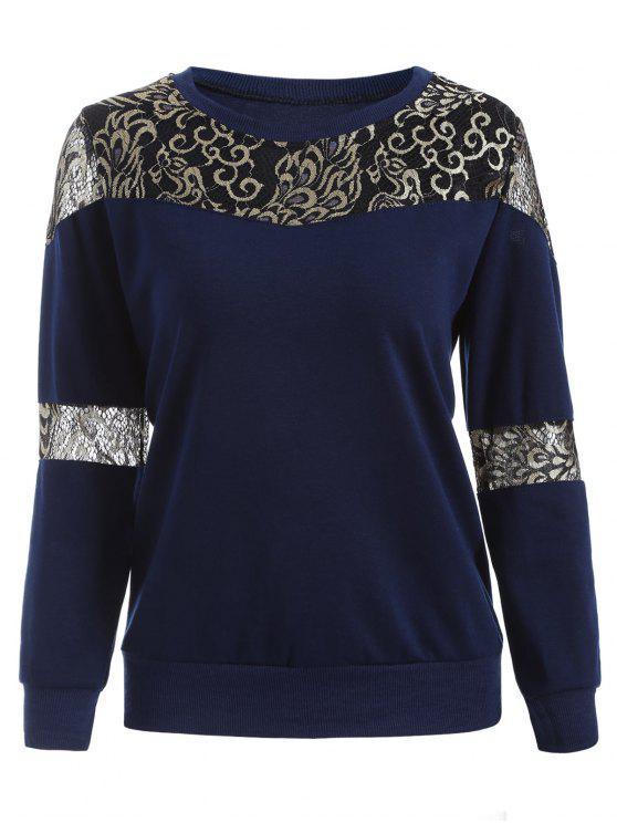 chic Lace Panel Sweatshirt - DEEP BLUE 2XL