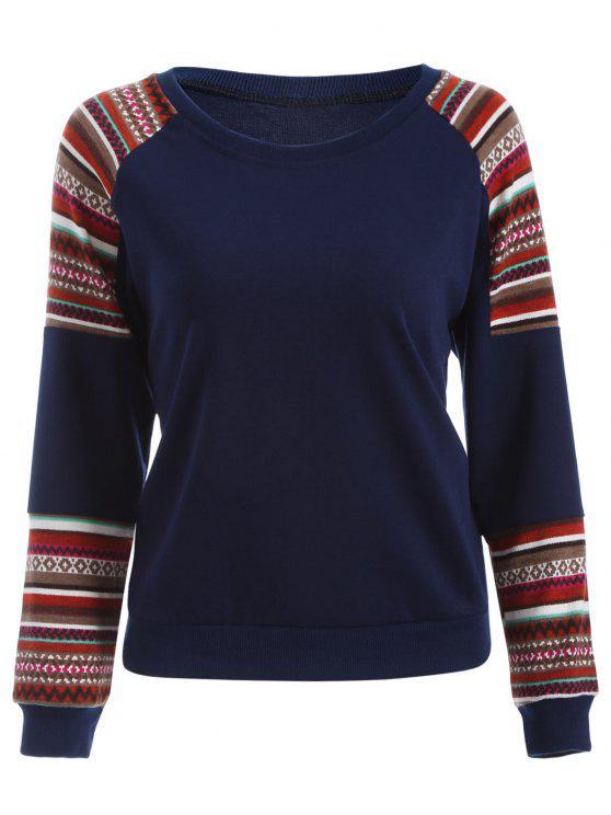 Tribal Print Sleeve Sweatshirt - Bleu profond XL