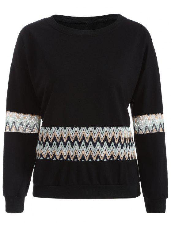 fancy Crochet Panel Sweatshirt - BLACK M