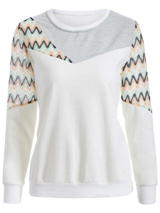 unique See-Through Panelled Sweatshirt - WHITE 2XL