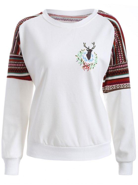 new Tribal Print Pullover Sweatshirt - WHITE M