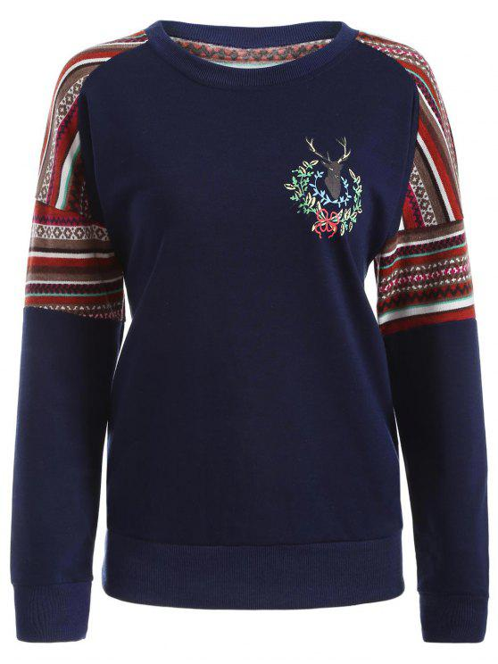 shop Tribal Print Pullover Sweatshirt - DEEP BLUE M