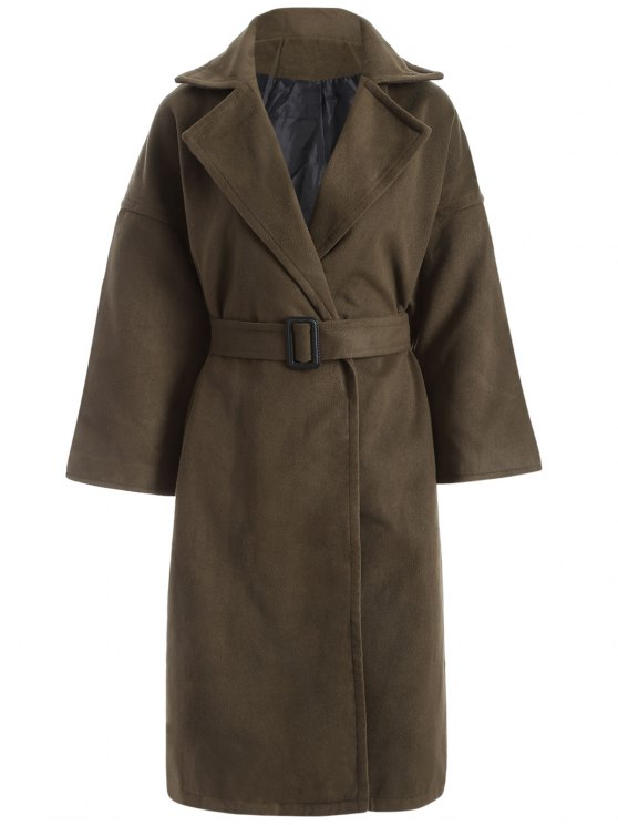 latest Wool Blend Winter Wrap Coat - ARMY GREEN L