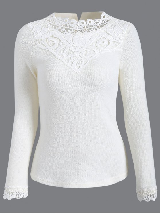 unique Crochet Trim Jumper - WHITE 2XL