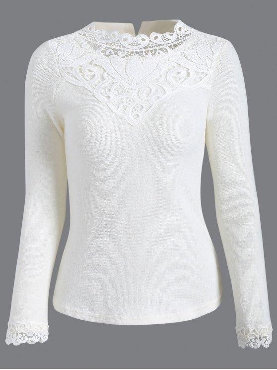 affordable Crochet Trim Jumper - WHITE L