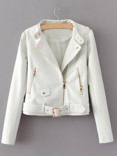 Zippered Faux Leather Biker Jacket - White Xl