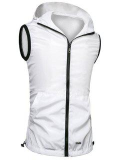 Brief Style Zipper Flying Hooded Casual Vest For Men - White M