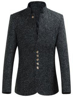 Mandarin Collar Men Blazer - Black 2xl