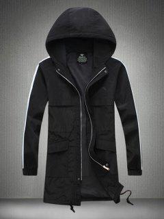 Contrast Stripe Sleeve Drawstring Zip Up Hooded Coat - Black 5xl
