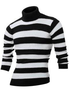 Turtle Neck Long Sleeves Striped Sweater - Black L